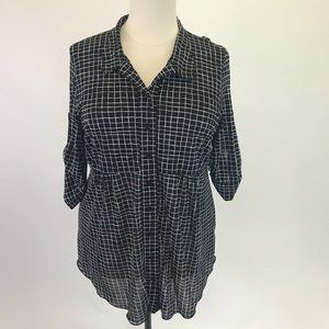 Style&Co Checkered Print Blouse 2X